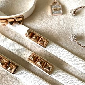 •Pyramid Studded•Off White Textured Bracelet